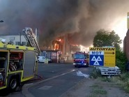 Firefighters tackle a blaze in Perivale