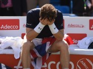 Great Britain's Andy Murray gets emotional after sealing the team's Davis Cup win