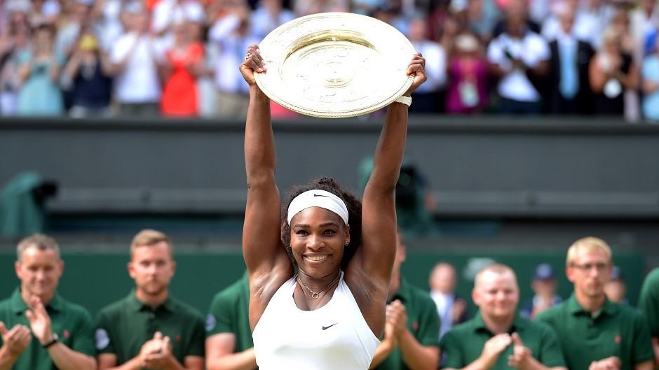 Serena Williams, pictured, saw off Garbine Muguruza to win Saturday's Wimbledon final