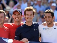 Andy Murray, pictured second from right, enjoys the atmosphere generated in Glasgow
