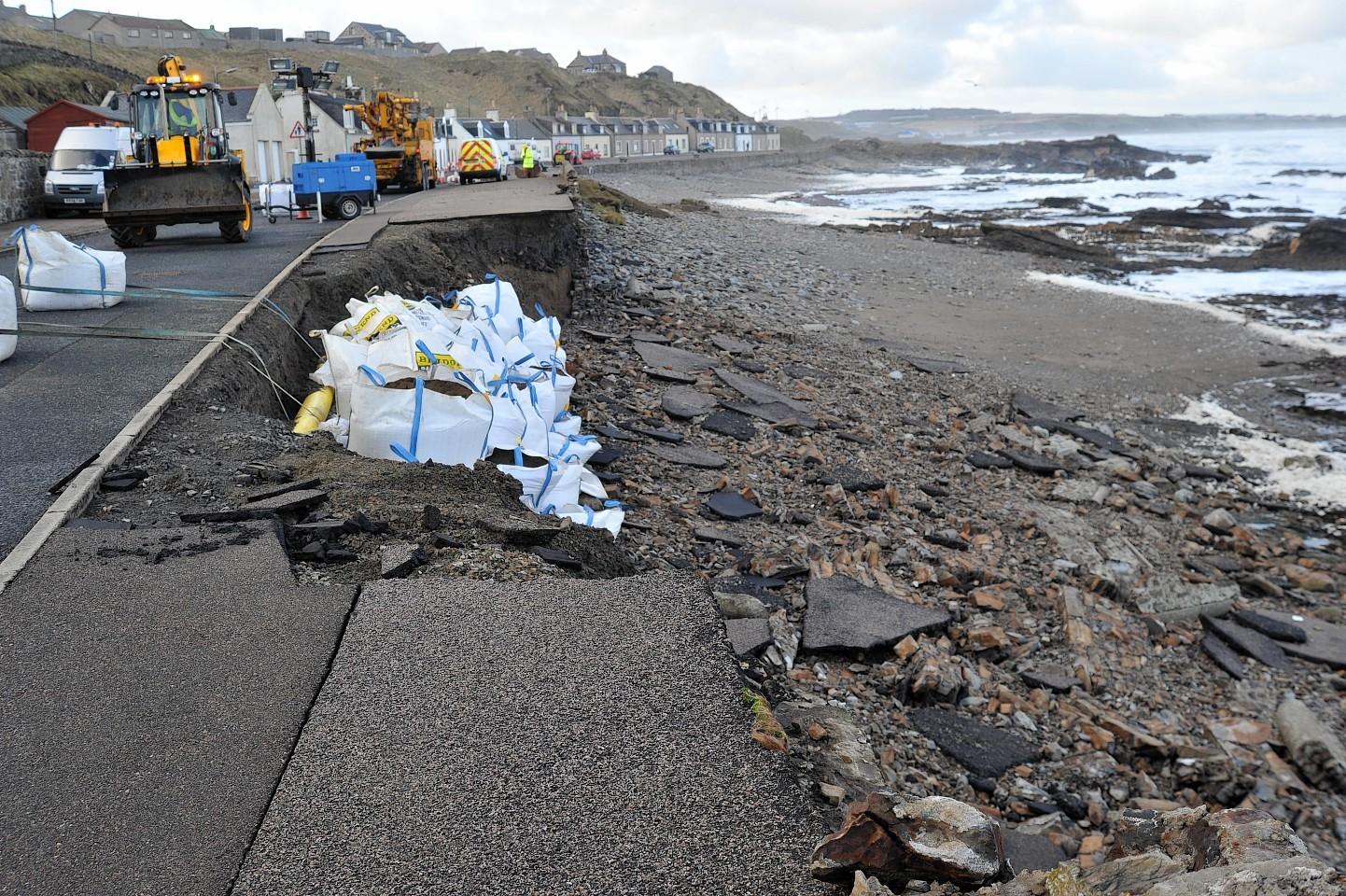 Sandbags protect the gas main at Scotstoun, Banff, where the sea wall was demolished