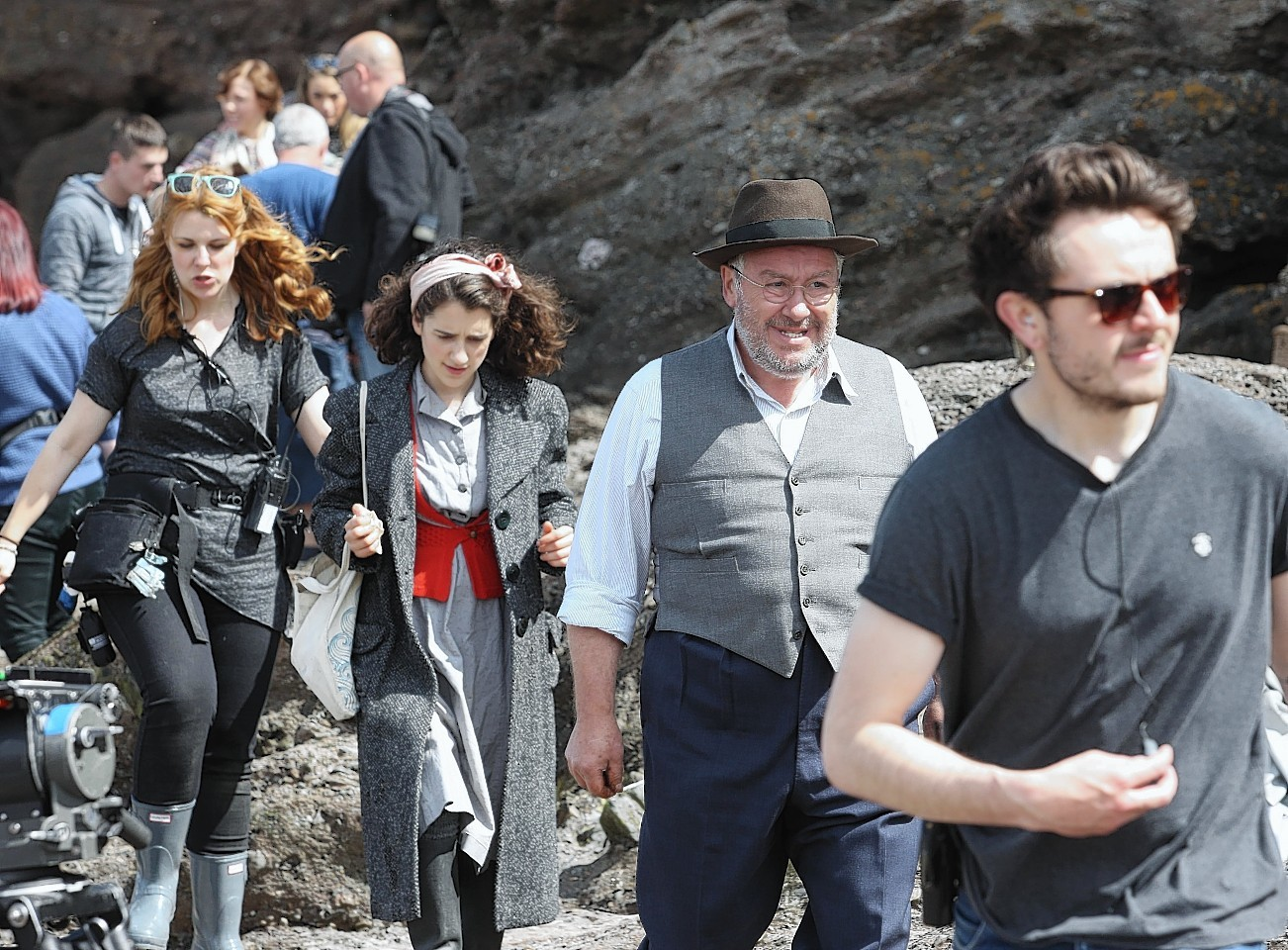 The beginning of filming of Whisky Galore  at Portsoy