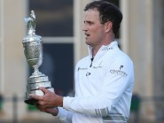 Johnson celebrates with the Claret Jug after winning The Open Championship. Picture by David Davies/PA Wire.