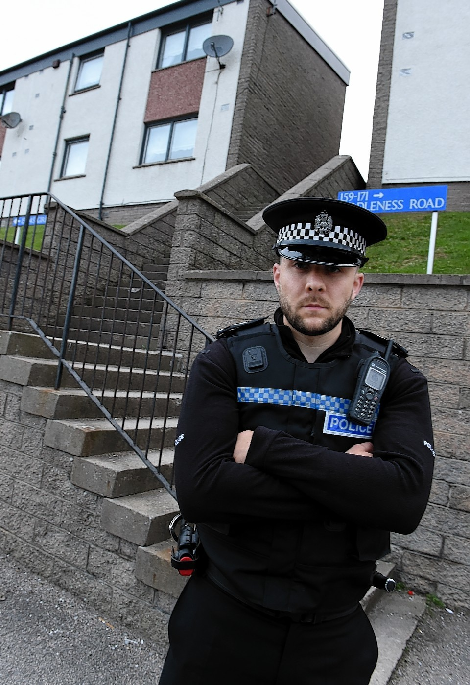Sergeant Martyn Thomson at the steps where the man fell and the thief struck. Picture by Jim Irvine