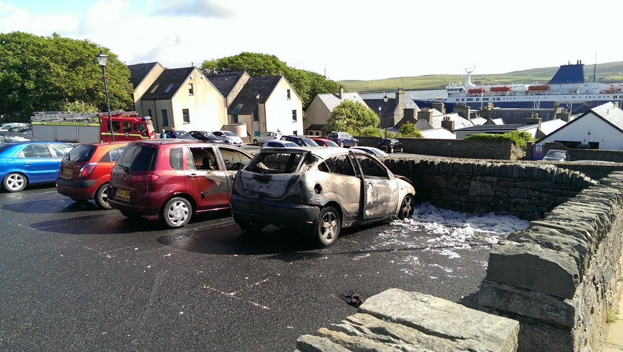 The fire destroyed the car