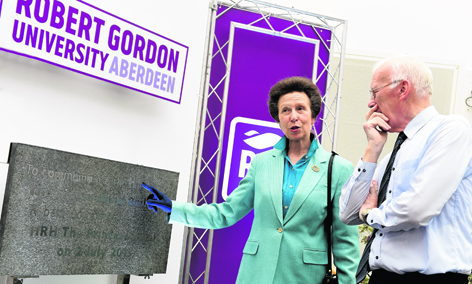 HRH The Princess Royal with Sir Ian Wood at the official opening of RGU's Sir Ian Wood Building
