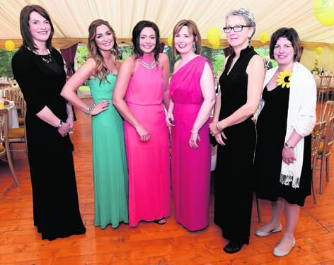 Haley Muir, Emma Nicol, Fiona Patience, Nicola McAlley, Susan Cooper and Amanda Burt at the Highland Hospice Sunflower Ball