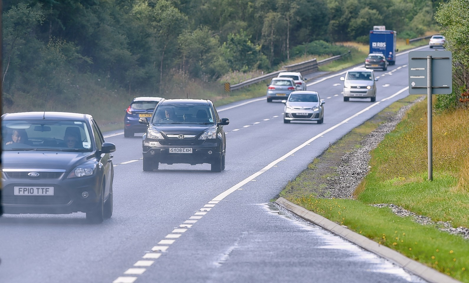Traffic on the A9 Kincraig to Dalraddy section