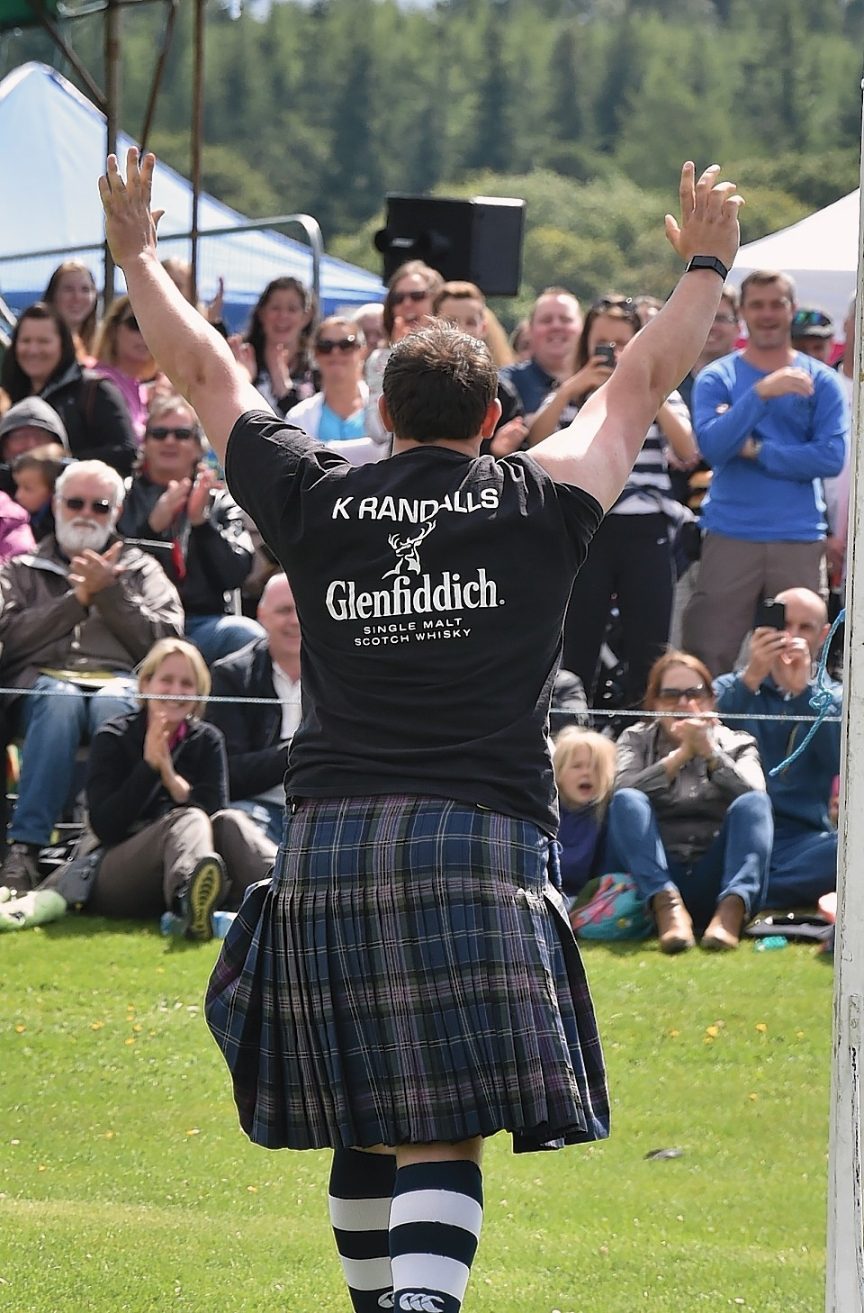 Aboyne Highland Games - Weight over bar - record was broken by Kyle Randall with a throw of 17ft 3in. (previous record was 17ft 2in). Picture by Colin Rennie
