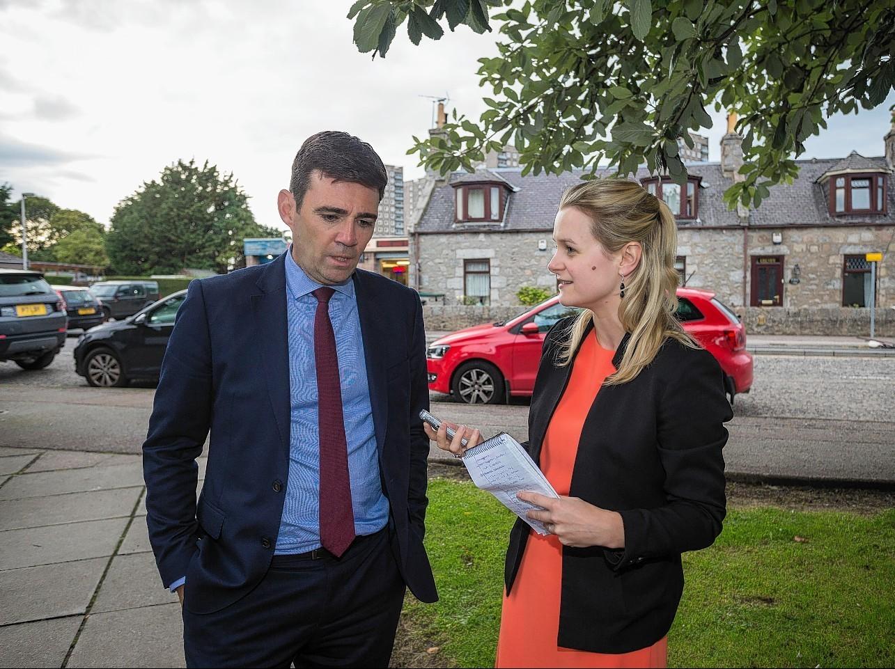 Andy Burnham speaks to Press and Journal reporter Lindsay Watling