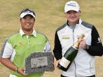 Saltire Energy Paul Lawrie Match Play winner Kiradech Aphibarnrat with host Paul Lawrie. Picture by Colin Rennie