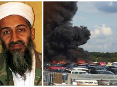 Osama Bin Laden's family were onboard the plane that crashed near a UK airport