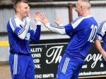 Cove's Jamie Watt celebrates after scoring against Huntly in the second half at Christie Park, Huntly.  Picture by Kevin Emslie.