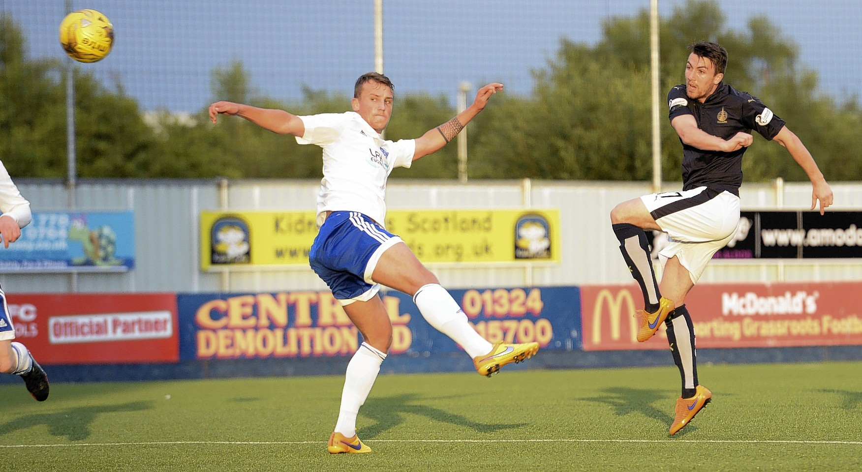 Falkirk's David Smith (right) opens the scoring but it was to be Rory McAllister's night...