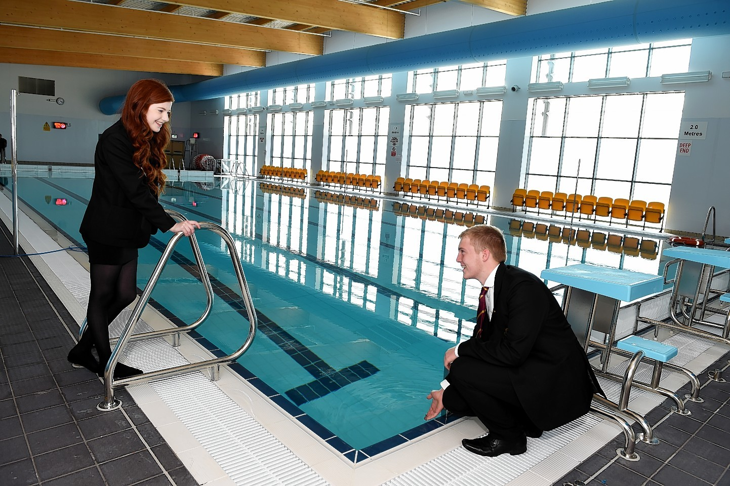 Head pupil's Jennifer Hendry and Max Poole at the opening of the £36million Ellon Academy Community Campus at Cromleybank.  Picture by KEVIN EMSLIE