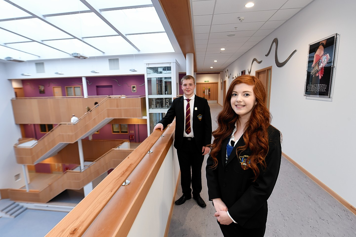 Head pupils Max Poole and Jennifer Hendry at the opening of the £36million Ellon Academy Community Campus at Cromleybank.  Picture by KEVIN EMSLIE