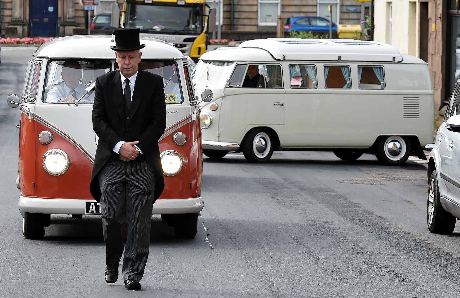 John Swingler leads Tom Bruce's funeral procession  in his best friends beloved campervan.     Picture by Kami Thomson