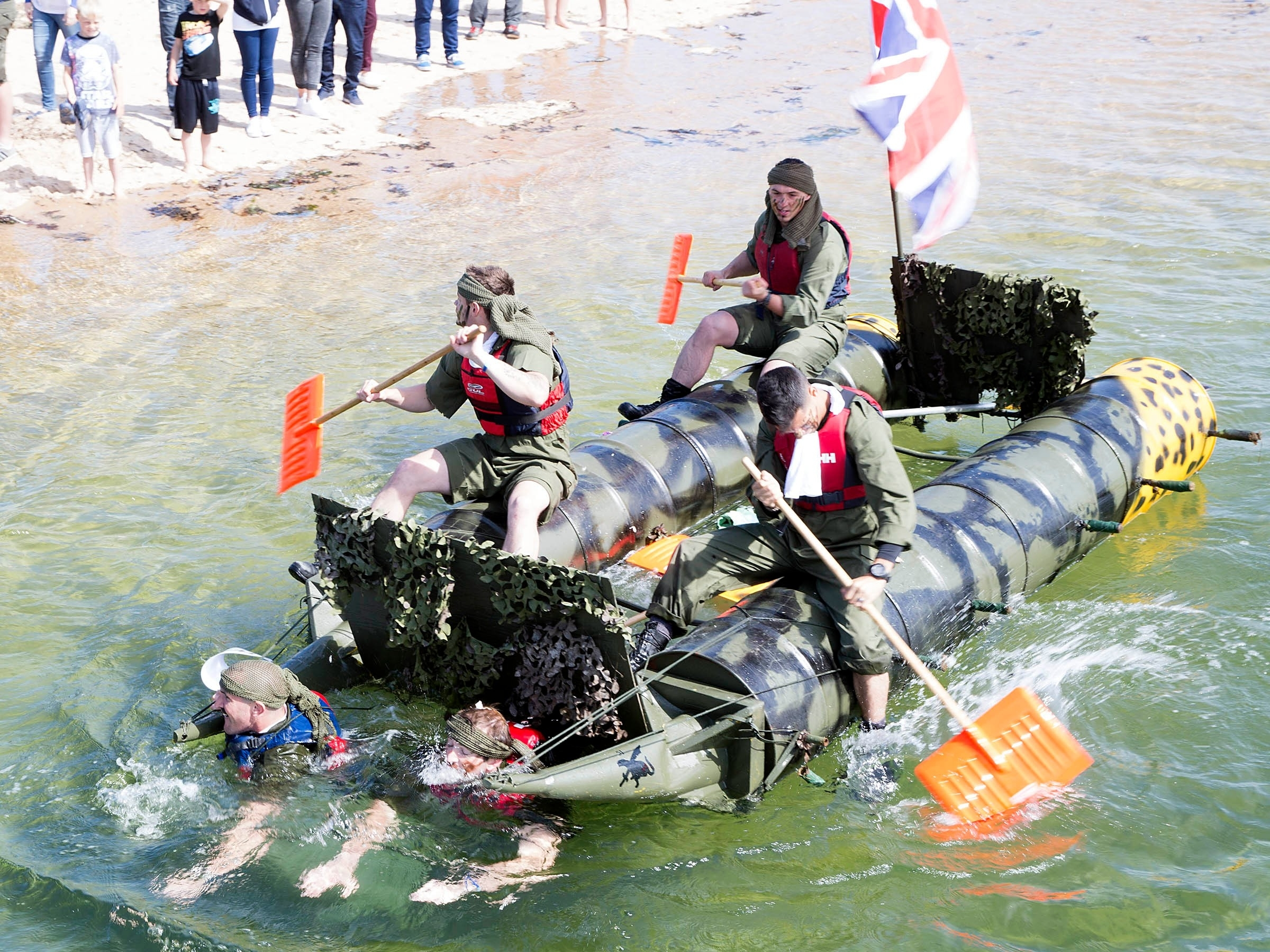 The Annual Lossiemouth RAFT RACE 2015. This years theme was BoB First place, the RAF Lossiemouthpolice  Dog Secotion. 2nd; MFR  3rd the Steamboat