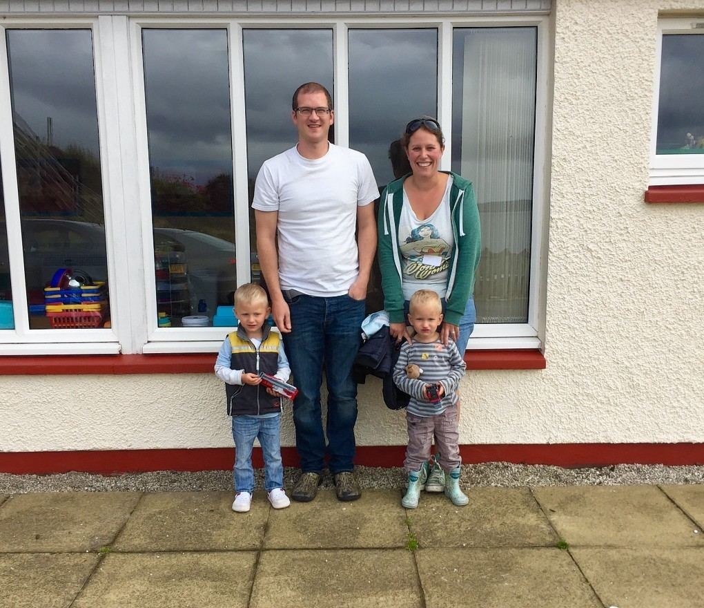Remy (left) and Indy with their father Marc and mother Ailsa Smith.
