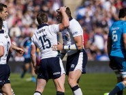 Scotland's Sean Lamont celebrates scoring the first try against Italy