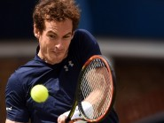 Andy Murray, pictured, needed an hour and three quarters to beat Mardy Fish