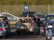 Emergency services at Blackbushe Airport after the crash