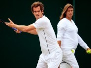 Andy Murray, left, dedicated the win to new mum Amelie Mauresmo, right