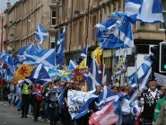 Drummers, pipers and bikers joined supporters who took to the streets holding aloft Saltire flags