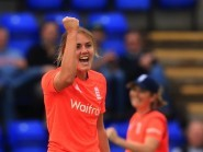 England's Nat Sciver took four wickets, including that of Australia's Ellyse Perry at Cardiff