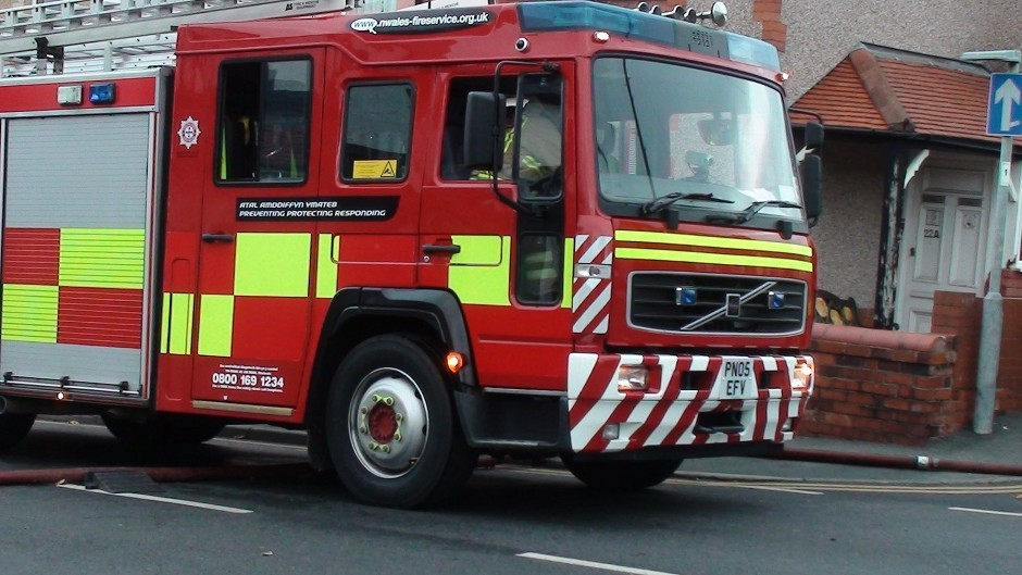 Firefighters were called to the blaze at 14:01