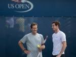 Andy Murray, right, and Jonas Bjorkman in practice ahead of the start of the US Open.