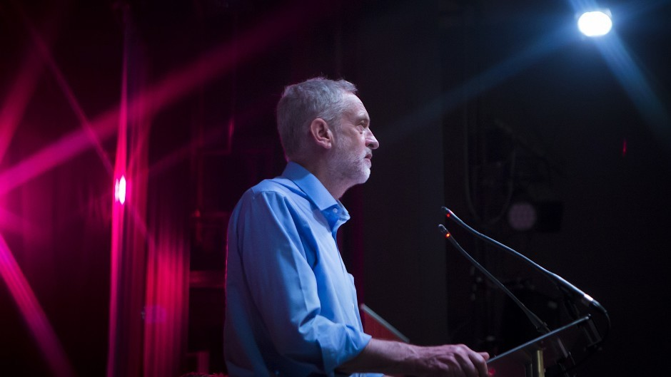 Labour leadership contender Jeremy Corbyn during a campaign rally in Aberdeen