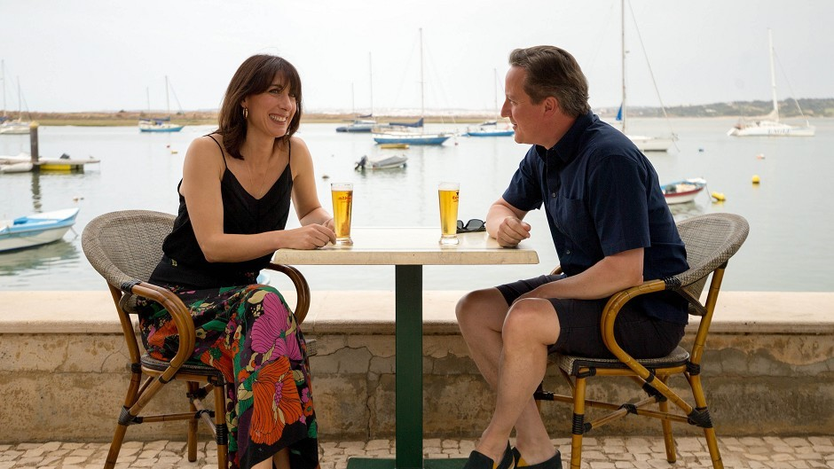 Prime Minister David Cameron and his wife Samantha on holiday in Portugal