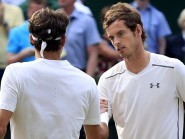 Andy Murray, right, was beaten by Roger Federer, left