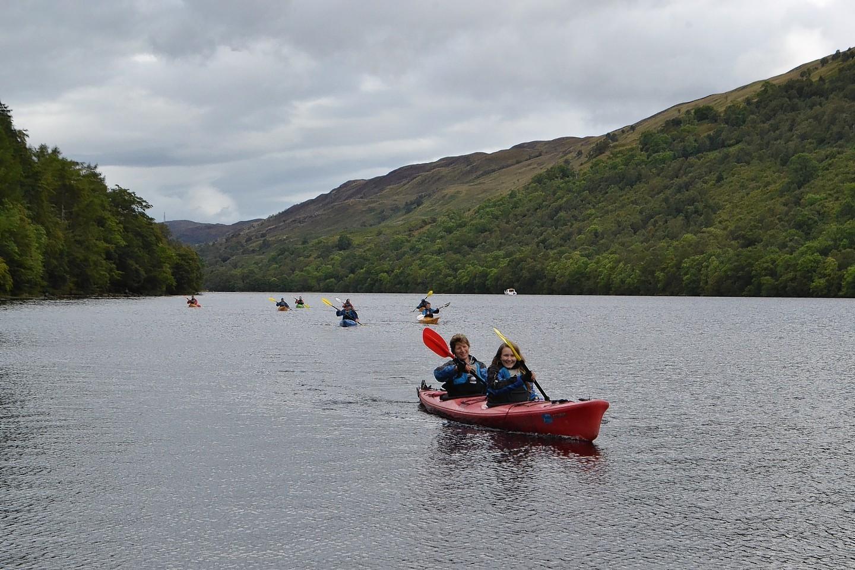 Participators kayaking in the RSABI Great Glen Challenge