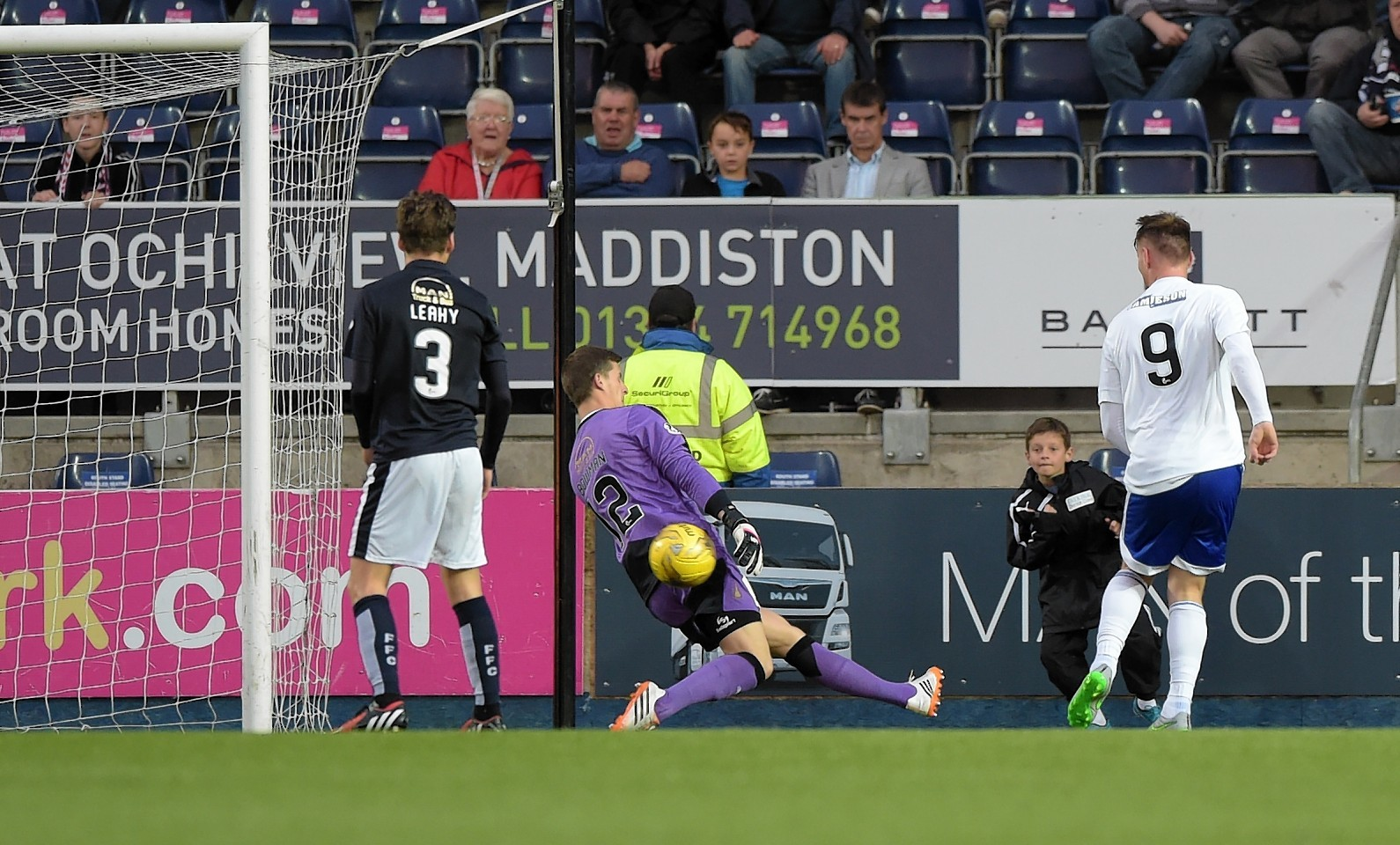 Peterhead's Rory McAllister (right) scores his hat-trick