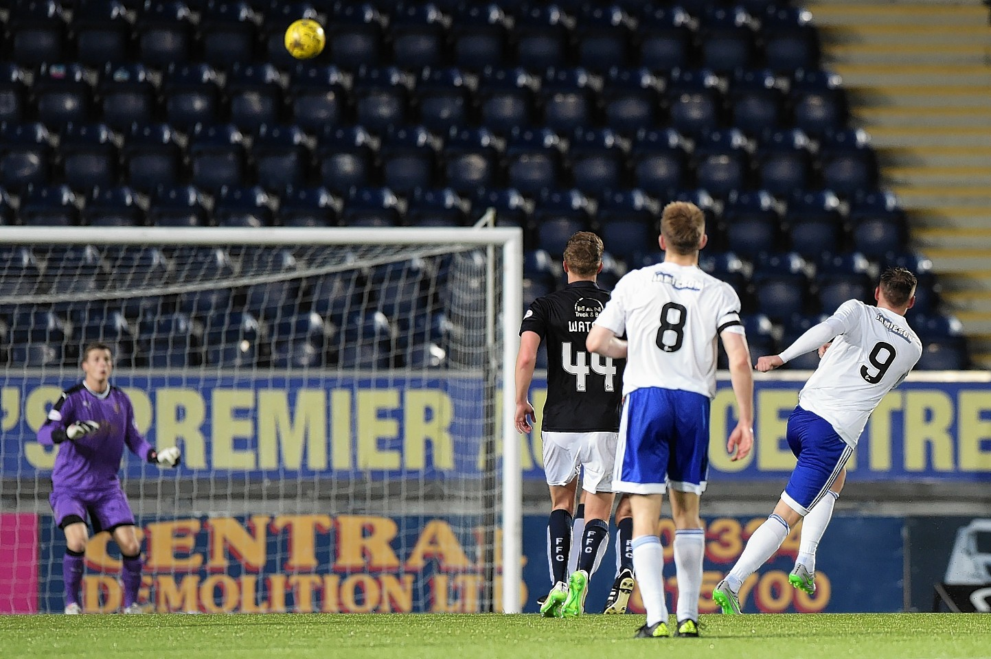 Peterhead's Rory McAllister (right) scores his side's fourth goal of the game