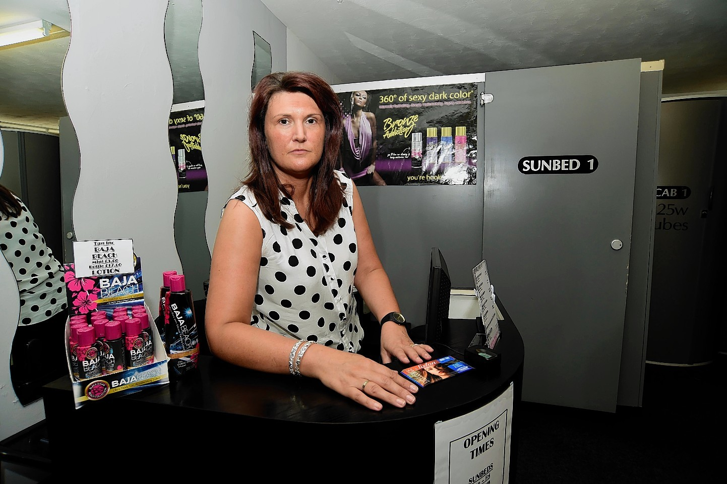 Brenda Clark, of the The Tanning, Hair and Beauty Company in Banff where a phone was stolen.