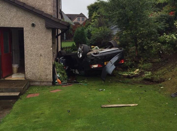 The couple inside the car had a lucky escape after it crashed off the A90
