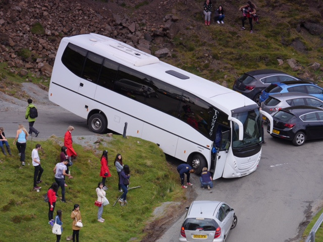 The bus got stuck whilst taking a corner on the road in Skye
