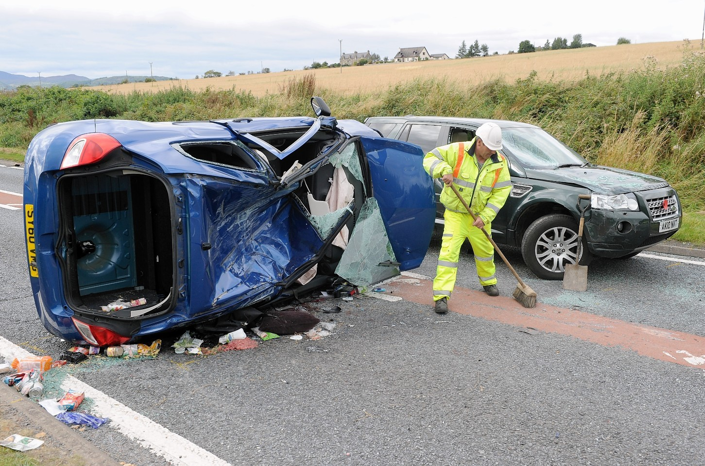 The scene of Saturday afternoon's three car crash on the A835