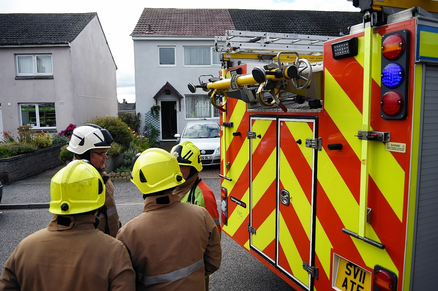 Fire crews at the Hunt's home, on Blantyre Place in Elgin. Picture by Gordon Lennox
