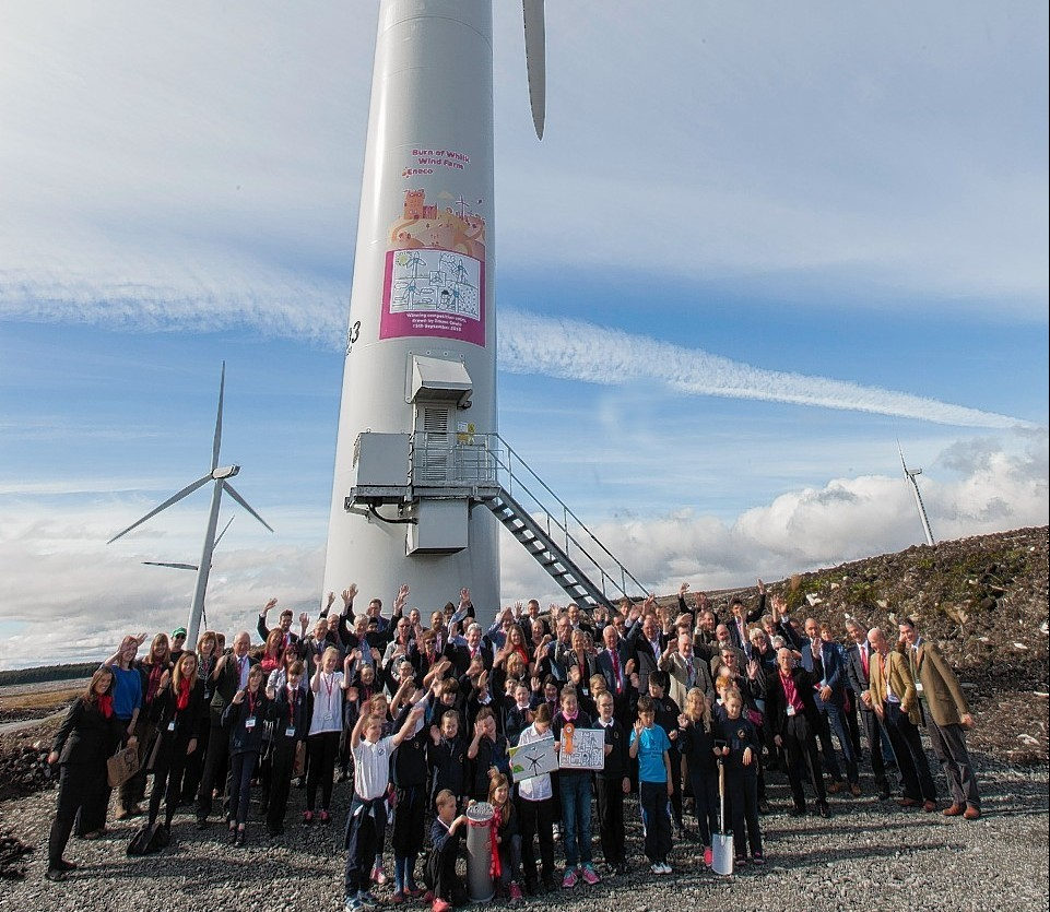 Pipils from Thrumster and Lybster primary school and other guests at the opening of the Burn of Whilk Windfarm