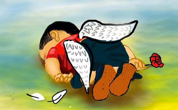 A cartoon tribute to the drowned Syrian boy