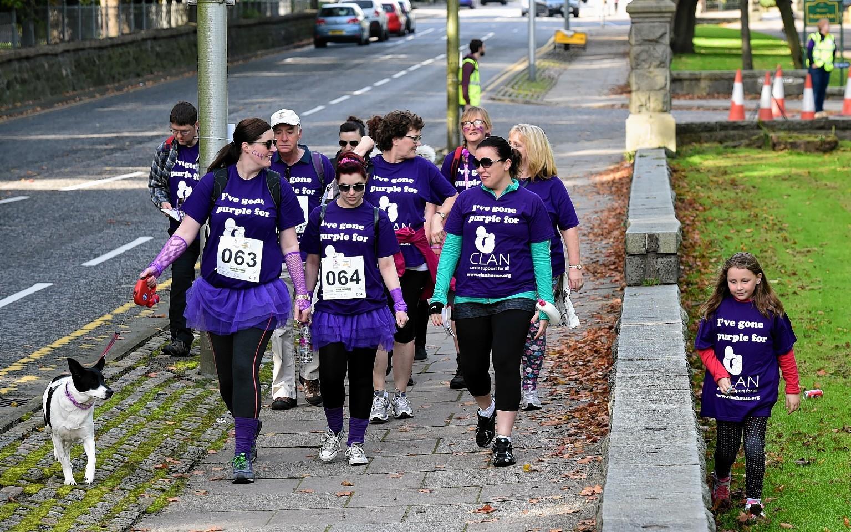 Walkers taking part in the CLAN Landmark Walk around Aberdeen.   Picture by Kami Thomson