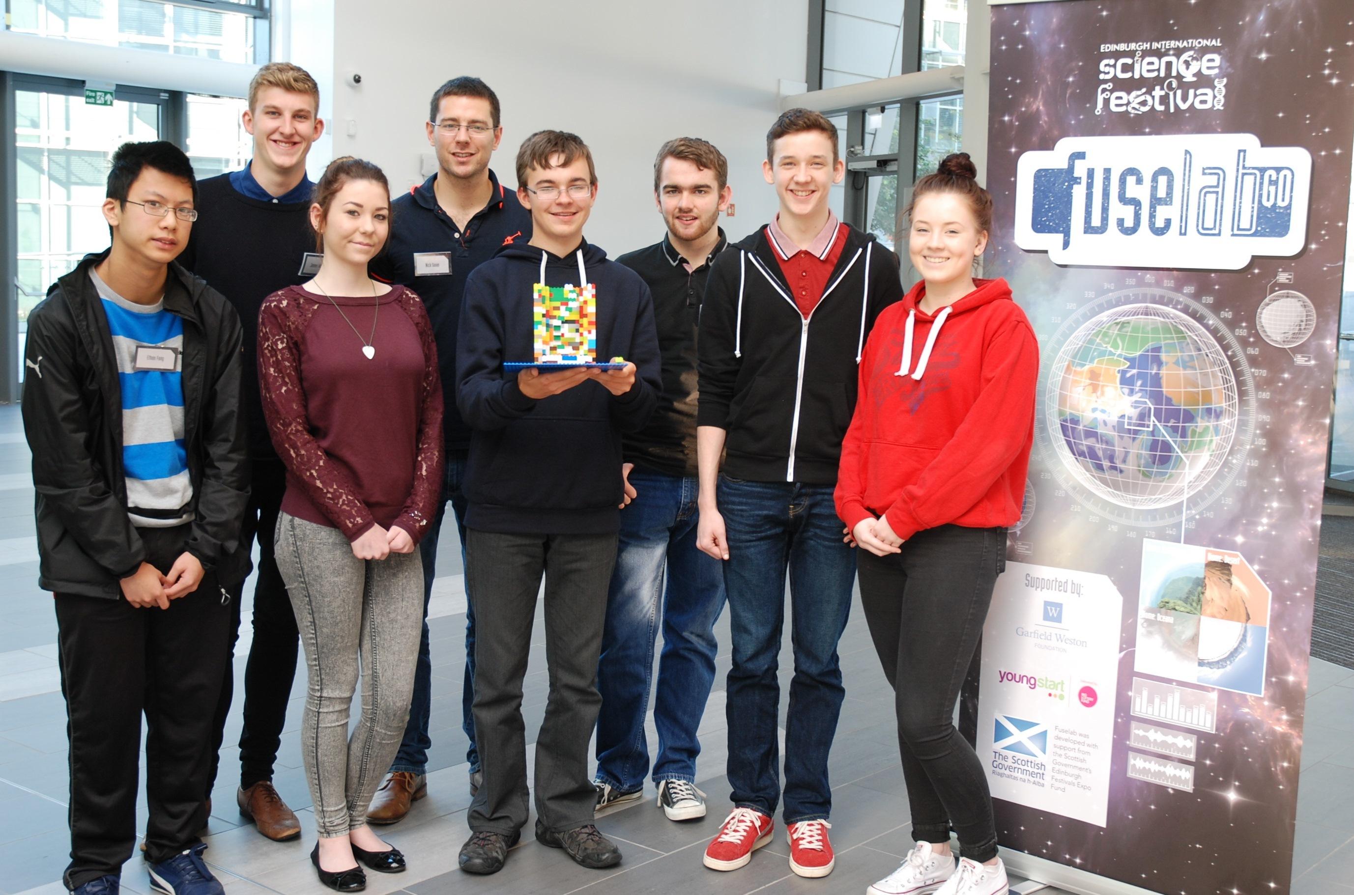 Aberdeen pupils:  Ethan Fong, Sarah McGuckin, Ewan Harold, Robert Rosie, Jake Adcook, Cameron Fraser-Mackie with mentors Nick Swan and James Williams (both back left)