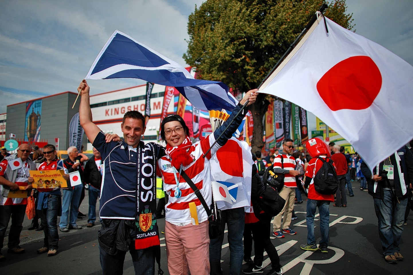 Scotland and Japan fans before the Rugby World Cup match at the Kingsholm Stadium