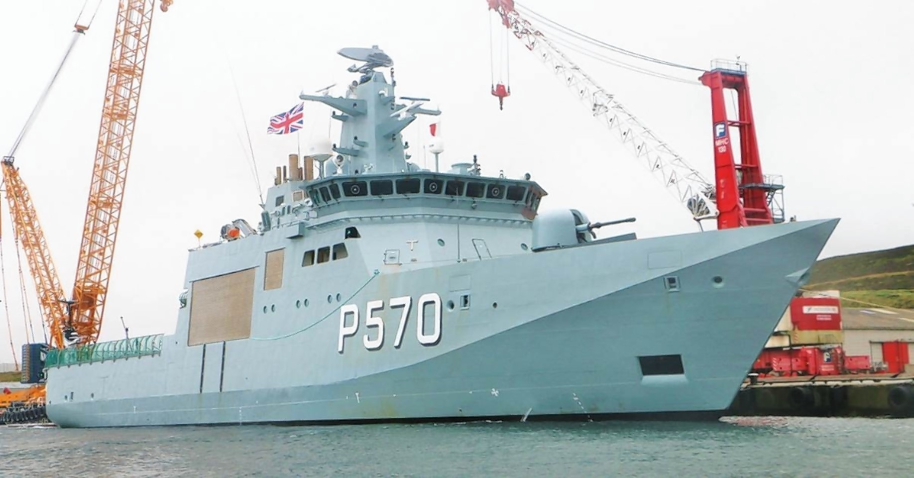 The Danish naval ship in Lerwick Harbour