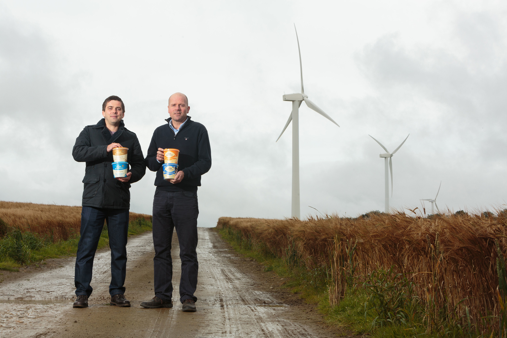 David Burr (left) and Maitland Mackie's son Mac at Mackie's Westertown farm in Aberdeenshire, which has its own renewable energy supply.
