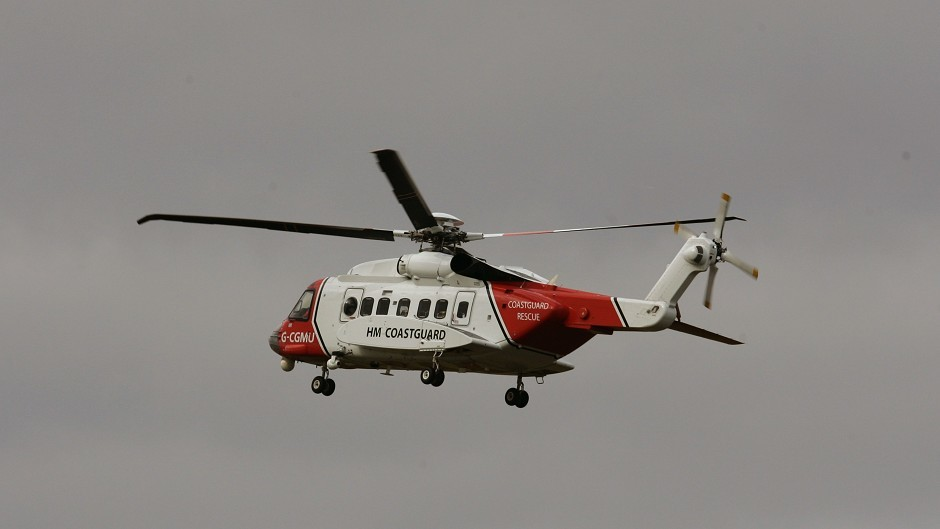 A coastguard helicopter took the man to hospital to be checked out.